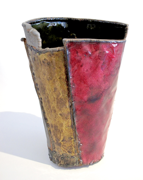June Schwarcz Vessel 1007 Copper, enamel 4 x 4 1/2 X 6""