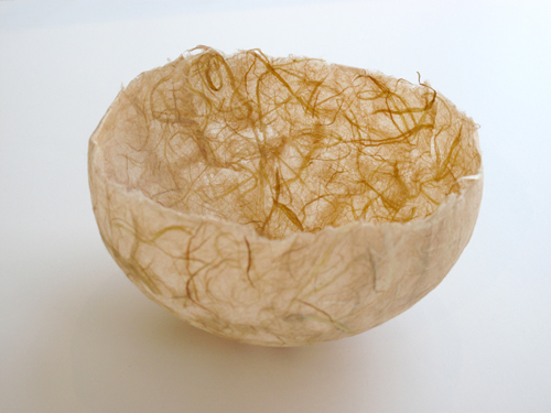 """Kay Sekimachi Vessel #1, 2014 Pink/yellow handmade paper with inclusion 5 3/4 X 3 1/2"""""""