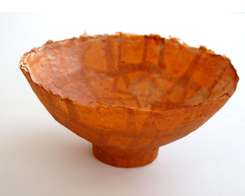 Kay Sekimachi Vessel #4, 2014 Orange antique paper 6 3/4 X 3 1/4""