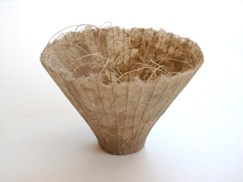Kay Sekimachi Vessel #5, 2014 Khaki paper with linen threads 6 3/4 X 5""