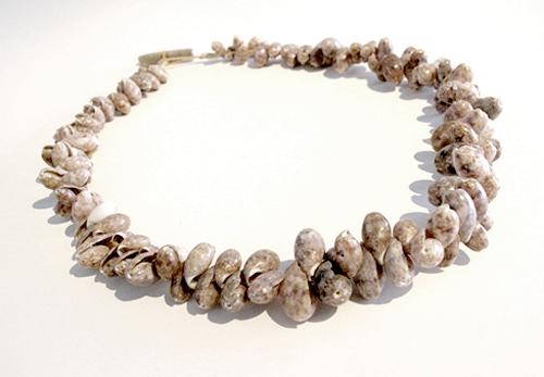 """Kay Sekimachi Necklace (Bubbles), 2011 Bubble shells, paper twine 9 1/2"""" long"""