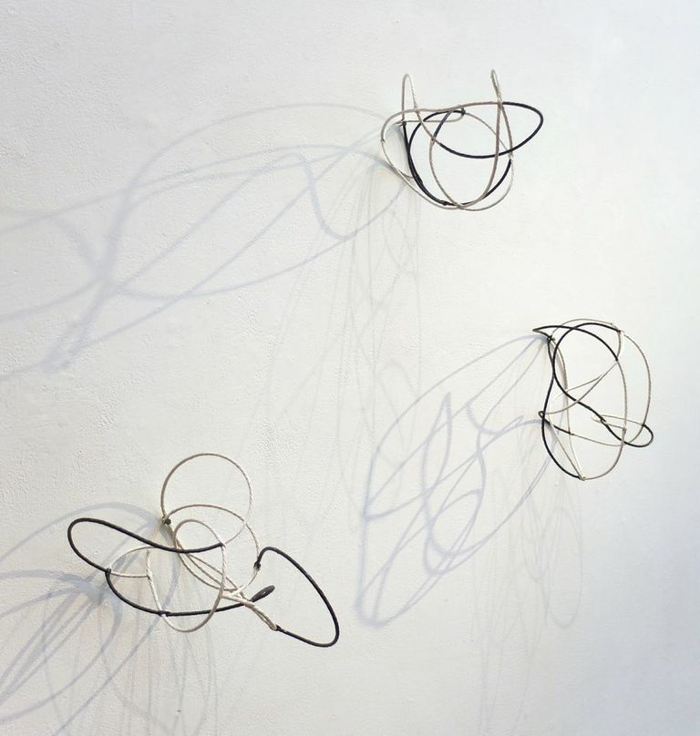 "Kay Sekimachi Black + White Twine Lines Split ply, paper cord, Danish twine Approximately 10 X 6 X 5"" each"
