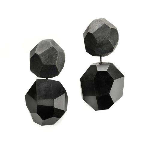 Babette Von Dohnanyi Earrings, Rocks, 2012 Sterling silver plated, Jet