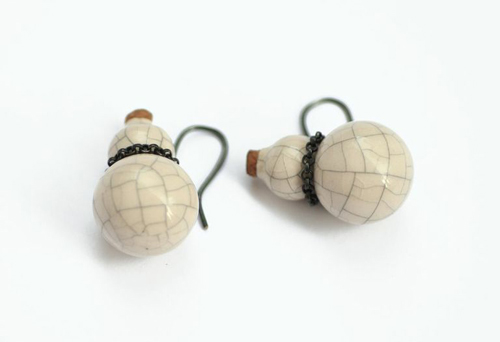 Peter Hoogeboom Jugs Ear Jewels, 1996 Ceramic, sterling silver, cork