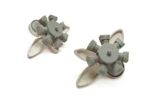Katja Prins Flower Earrings, 2006 Sterling silver, plastic