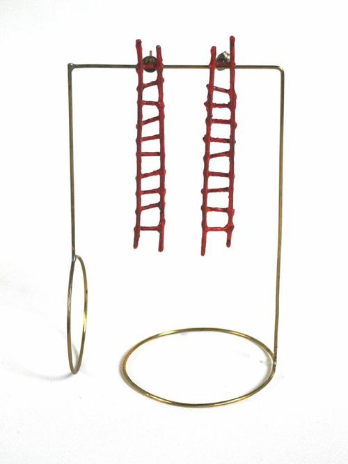 Liisa Hashimoto Red Ladder Earrings, 2014 Sterling silver, acrylic paint