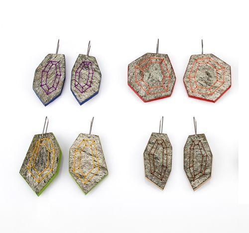 Antje Stolz Spiderstones, Blue, Red, & Green, 2013 Slate veneer, remanium, enamel-paint, pearl silk