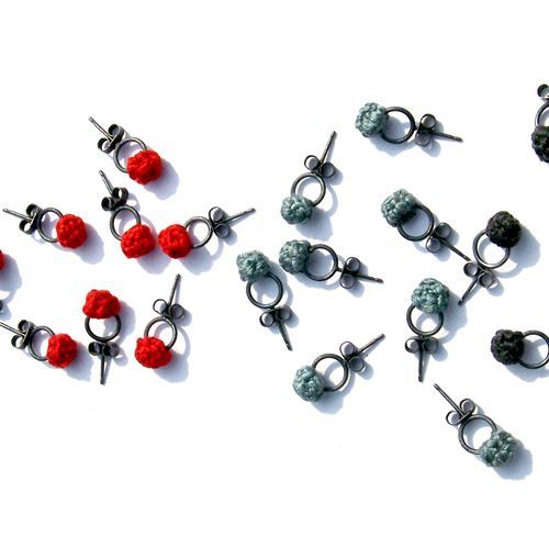 Joanne Haywood Earrings, Cloudberry, 2007 Oxidized sterling silver and textile