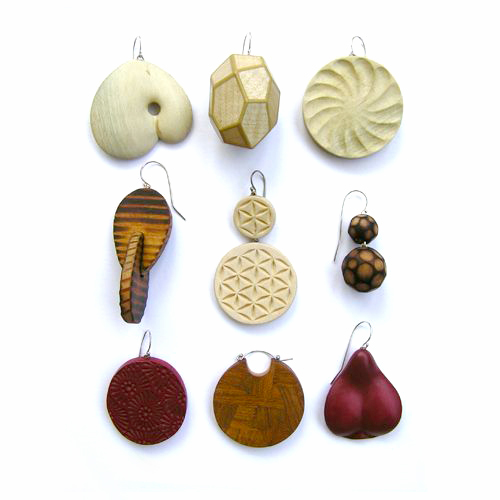 Julia Harrison, Earrings, Various woods, sterling silver, mixed media