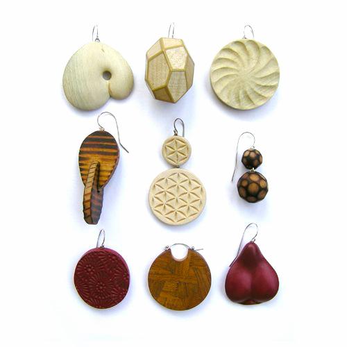 Julia Harrison, Earrings, Various woods, sterling silver, mixed media