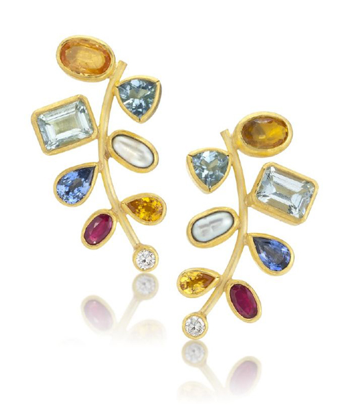 Petra Class Earrings Diamond, blue sapphire, aquamarine, yellow sapphire, ruby, pearl, 22k/18k gold