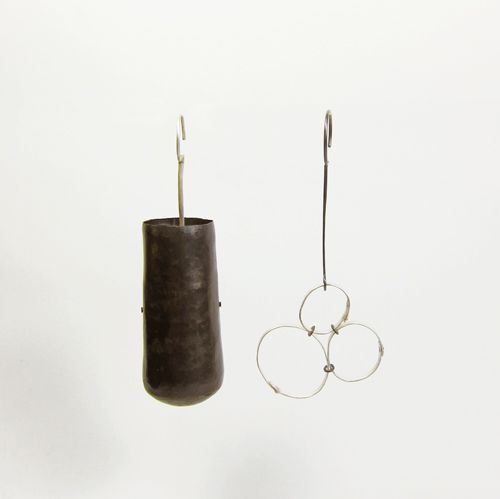 Rudee TancharoenEarrings, Armonia 02 Sterling silver, Copper; hammered, fabricated, oxidized