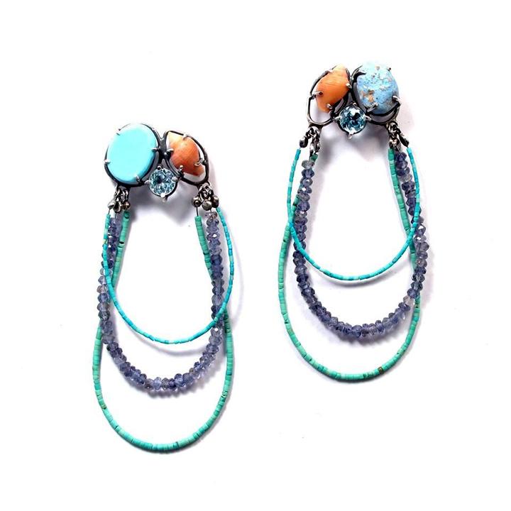 JG_Azul y Shell pendientes moldeados_Earrings