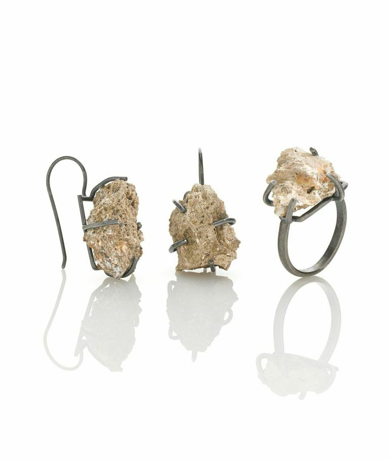 Amy Tavern, Since 1882, Since 1976, 2014, Stones from the foundation of my childhood home, sterling silver