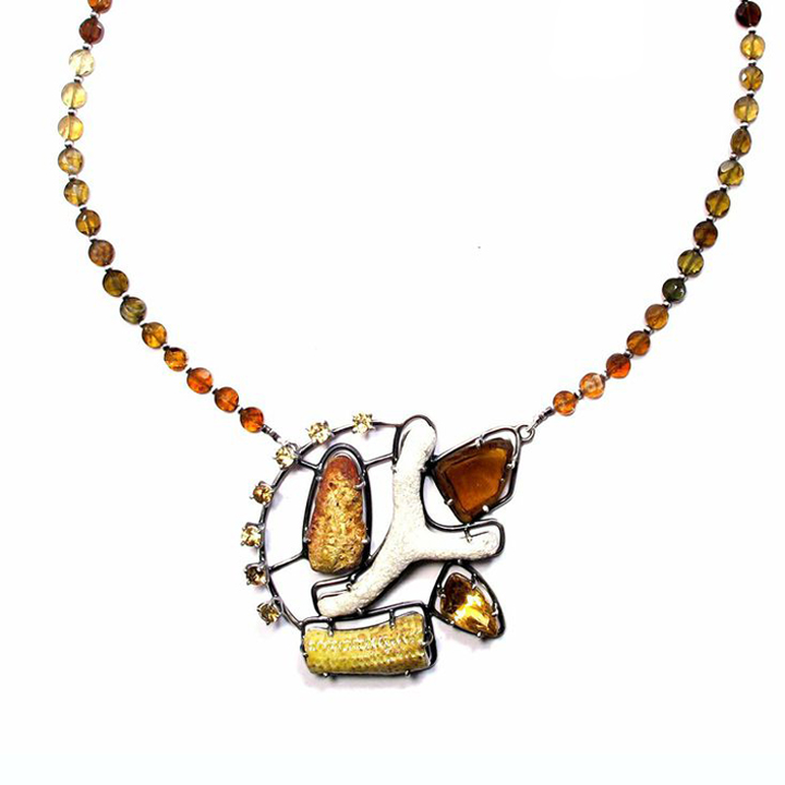 Joanna Gollberg, El collar de citrino amarillo y otras cosas (Necklace), Sterling silver, Yellow rock (Mexico), brown glass (Western NC), citrine, coral (Mexico), yellow enamel, Citrine beads